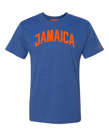 Blue Jamaica T-shirt with Knicks Orange Letters