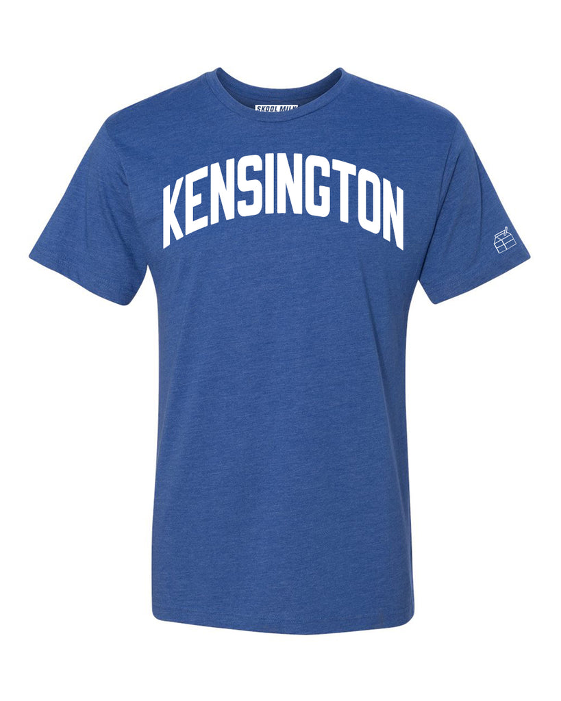 Blue Kensington T-shirt with White Reflective Letters