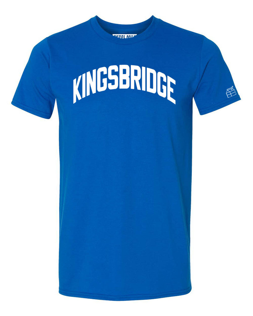 Blue Kingsbridge Heights T-shirt with White Reflective Letters