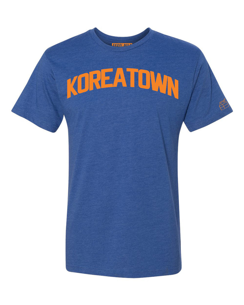 Blue Koreatown T-shirt with Knicks Orange Letters
