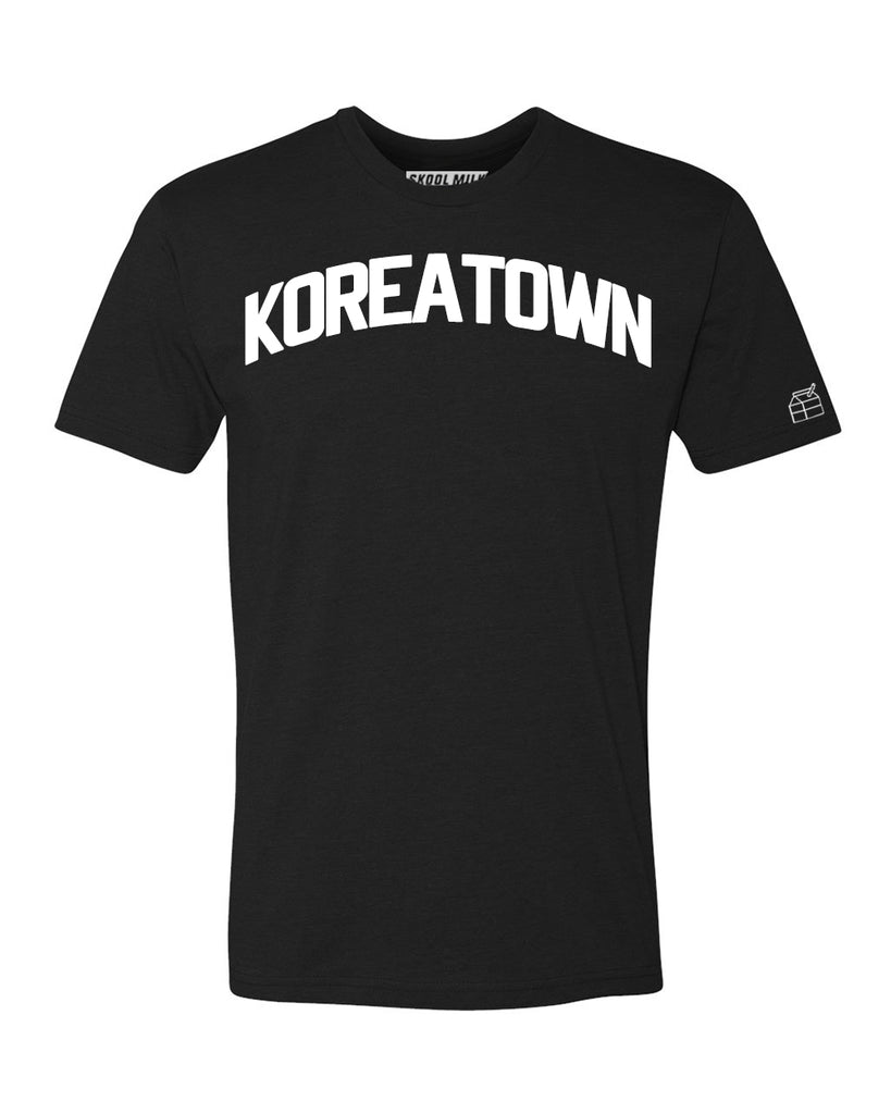 Black Koreatown T-shirt with White Reflective Letters