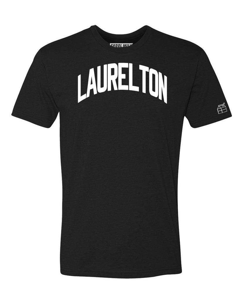 Black Laurelton T-shirt with White Reflective Letters