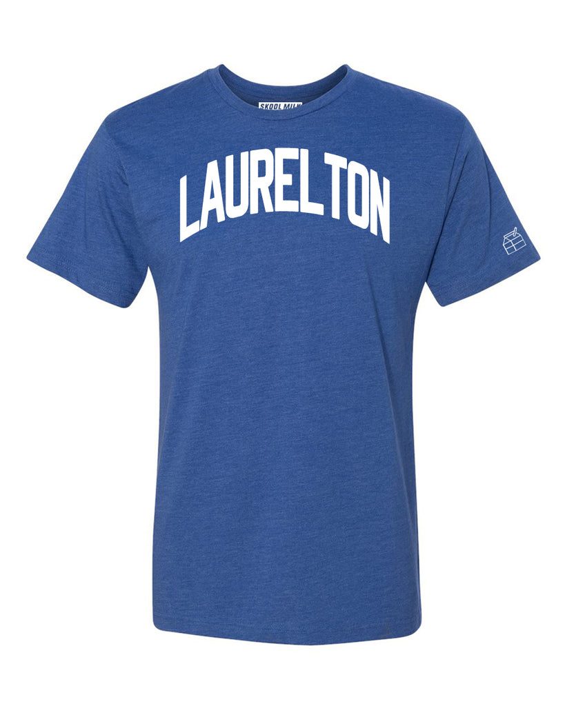 Blue Laurelton T-shirt with White Reflective Letters