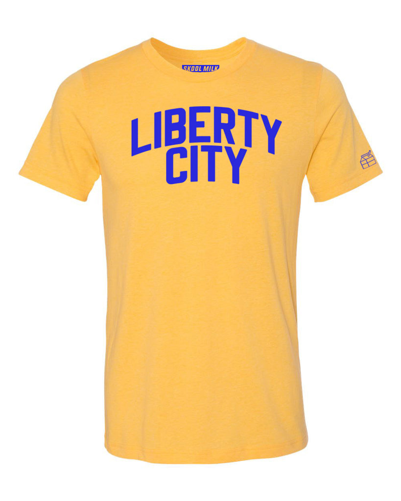 Yellow Liberty City Miami T-shirt w/ Blue Reflective Letters