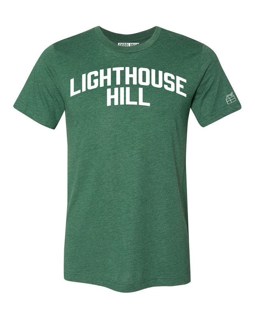 Green Lighthouse Hill T-shirt with White Reflective Letters