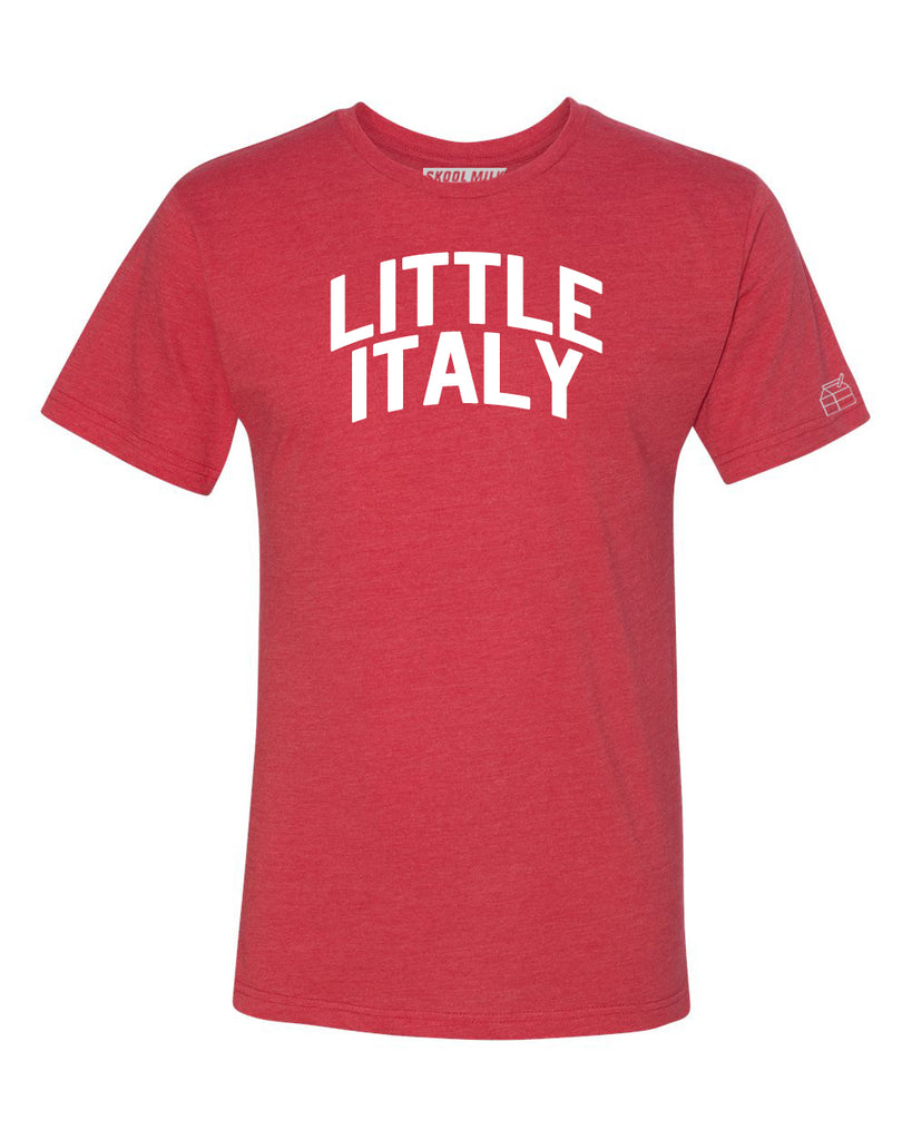 Red Little Italy T-shirt with White Reflective Letters