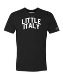 Black Little Italy T-shirt with White Reflective Letters
