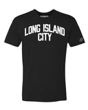 Black Long Island City T-shirt with White Reflective Letters