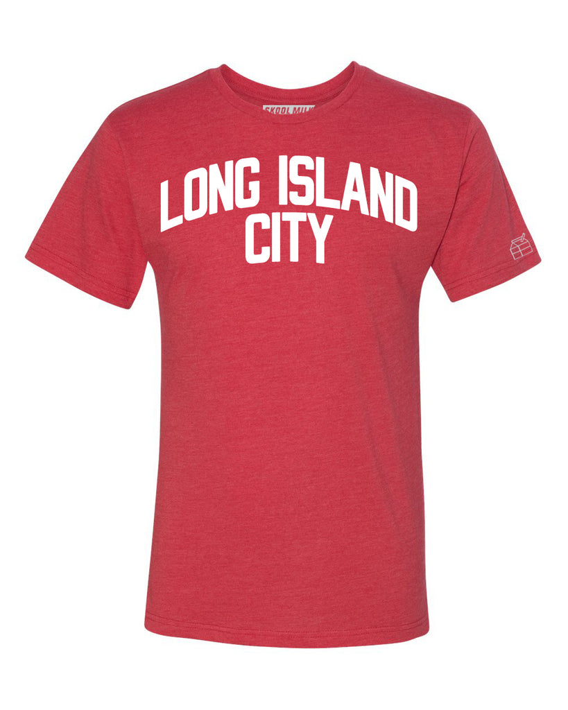 Red Long Island City T-shirt with White Reflective Letters