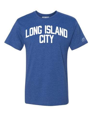 Blue Long Island City T-shirt with White Reflective Letters