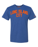 Blue Long Island City T-shirt with Knicks Orange Letters