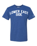 Blue Lower East Side T-shirt with White Reflective Letters