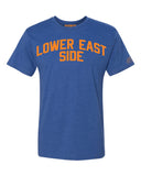 Blue Lower East Side T-shirt with Knicks Orange Letters