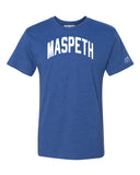 Blue Maspeth T-shirt with White Reflective Letters