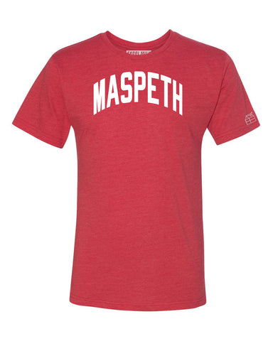 Red Maspeth T-shirt with White Reflective Letters