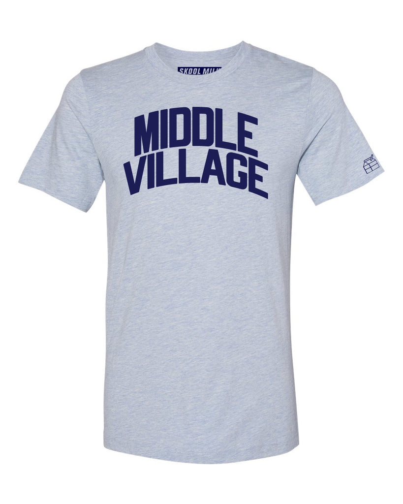 Sky Blue Middle Village T-shirt with Blue Letters