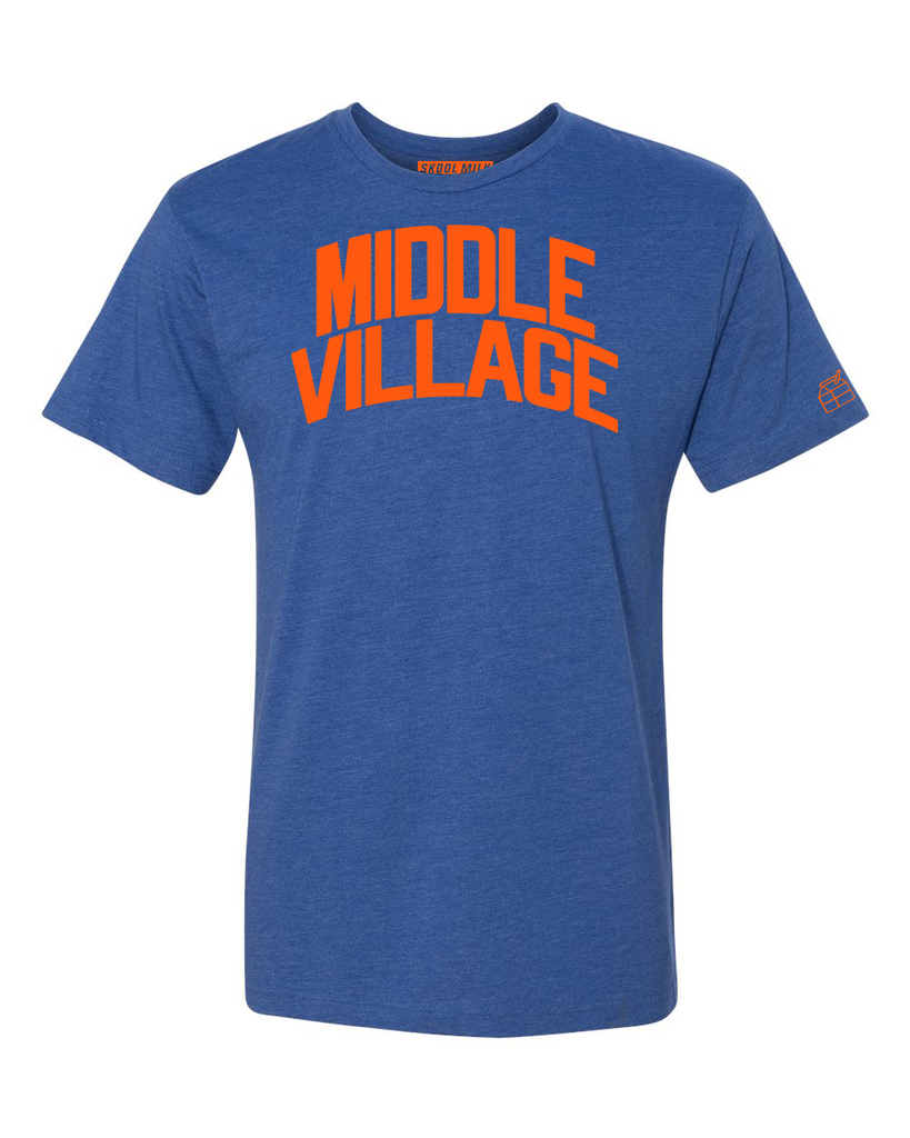 Blue Middle Village T-shirt with Knicks Orange Letters
