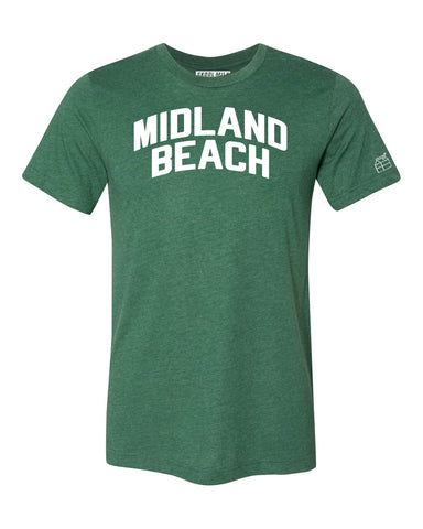 Green Midland Beach T-shirt with White Reflective Letters