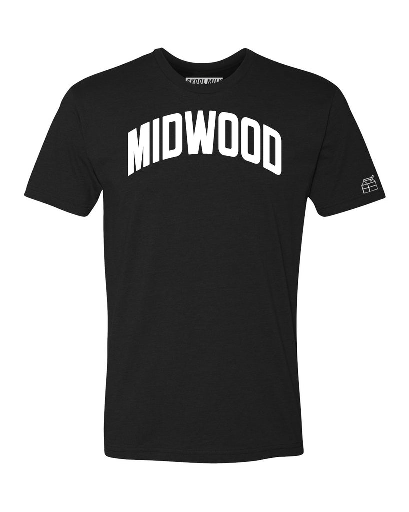 Black Midwood T-shirt with White Reflective Letters