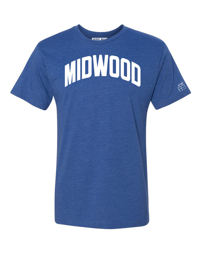 Blue Midwood T-shirt with White Reflective Letters