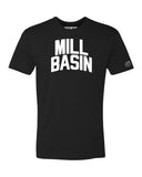 Black Mill Basin T-shirt with White Reflective Letters