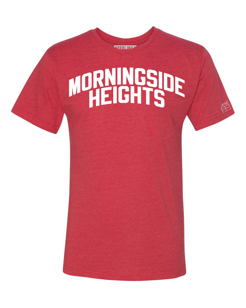 Red Morningside Heights T-shirt with White Reflective Letters