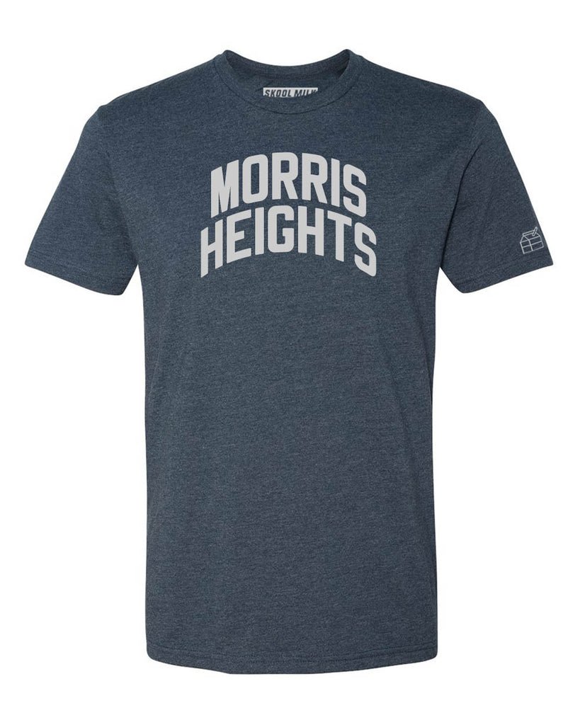 Navy Blue Morris Heights T-Shirt with Silver Letters