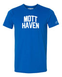 Blue Mott Haven T-shirt with White Reflective Letters