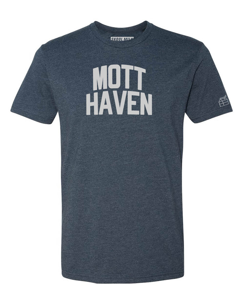 Navy Blue Mott Haven T-Shirt with Silver Letters