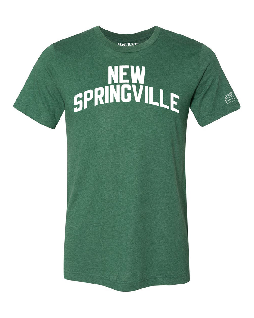 Green New Springville T-shirt with White Reflective Letters