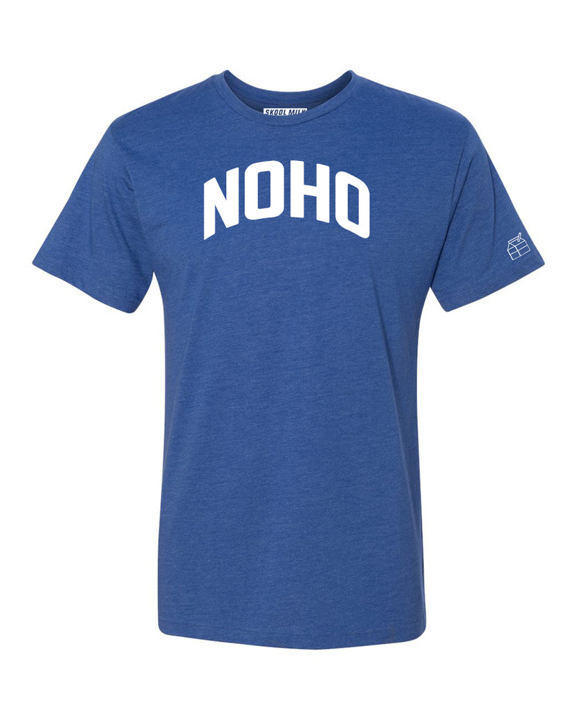 Blue Noho T-shirt with White Reflective Letters