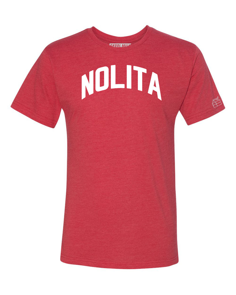 Red Nolita T-shirt with White Reflective Letters