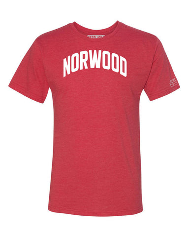 Red Norwood T-shirt with White Reflective Letters