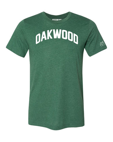 Green Oakwood T-shirt with White Reflective Letters