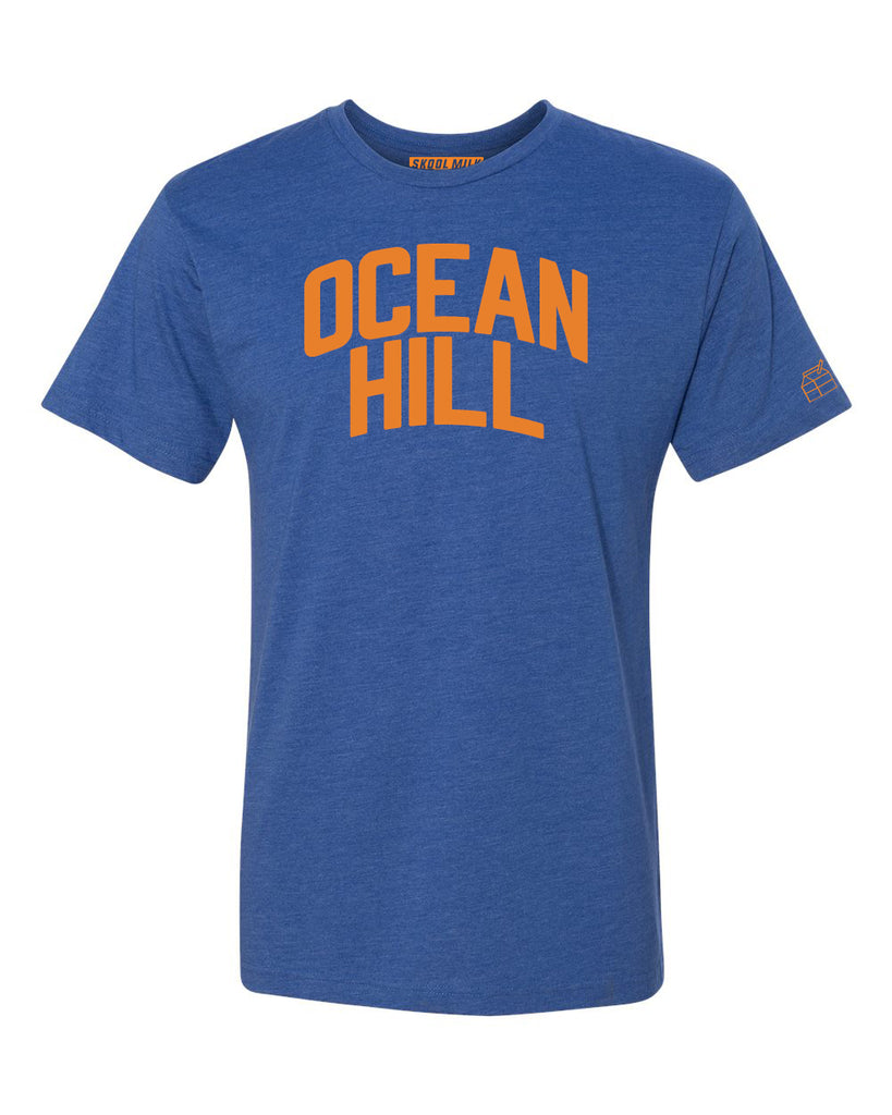 Blue Ocean Hill T-shirt with Knicks Orange Letters
