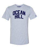 Sky Blue Ocean Hill T-shirt with Blue Letters