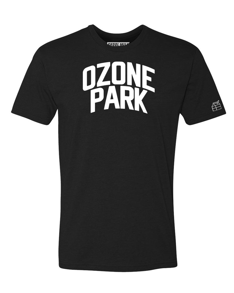 Black Ozone Park T-shirt with White Reflective Letters