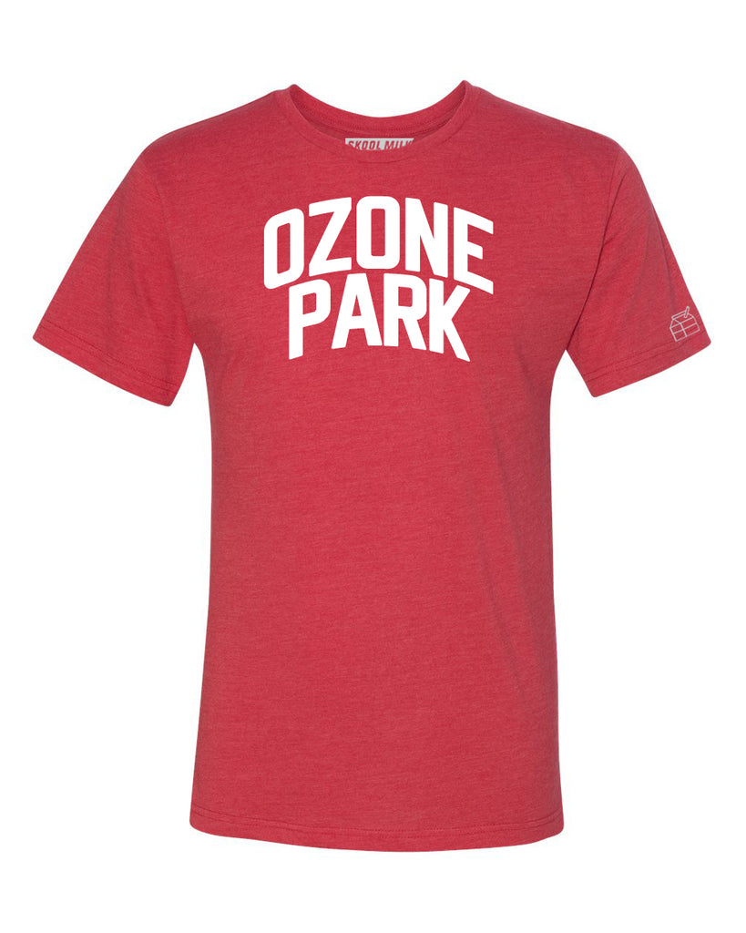 Red Ozone Park T-shirt with White Reflective Letters