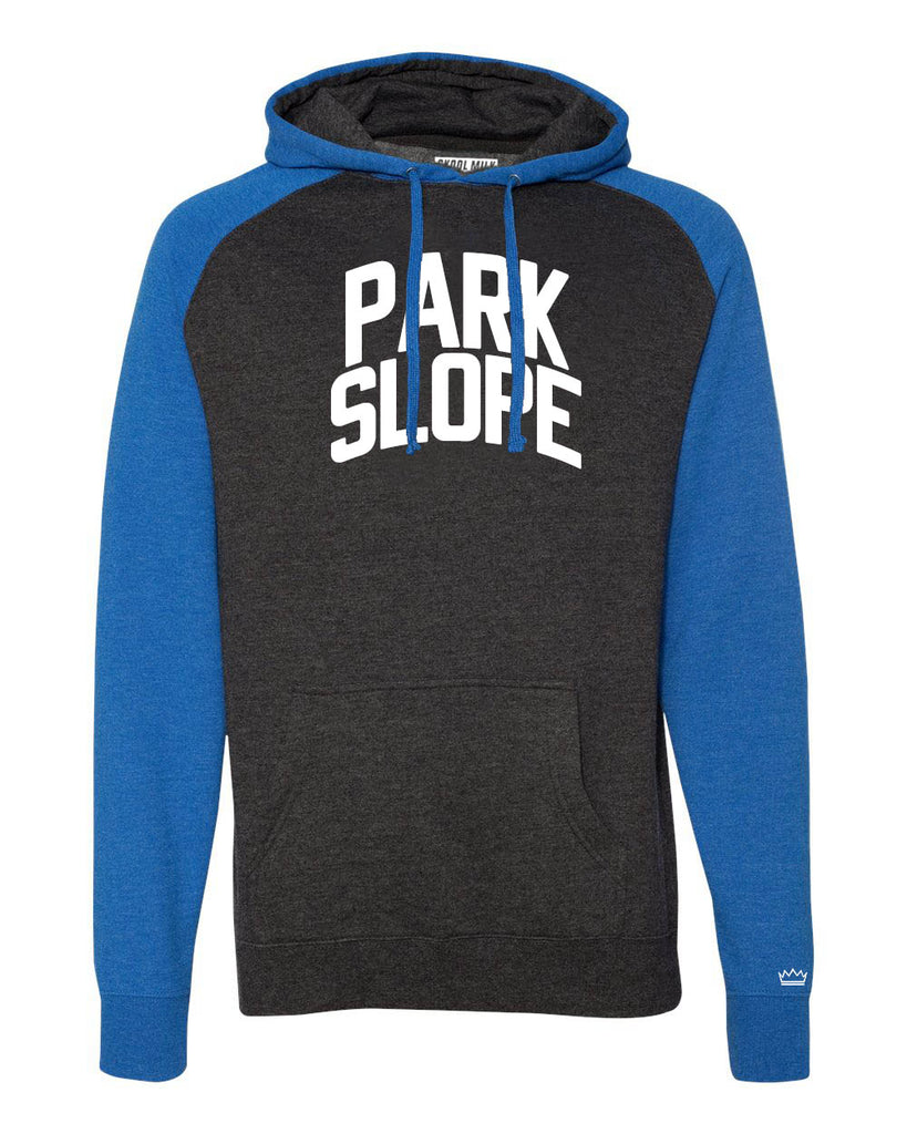 Blue/Grey Park Slope Brooklyn Raglan Hoodie w/ White Reflective Letters