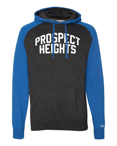 Blue/Grey Prospect Heights Brooklyn Raglan Hoodie w/ White Reflective Letters