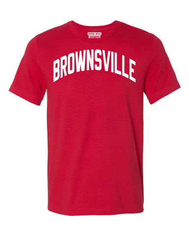 Red Brownsville Brooklyn T-shirt with White Reflective Letters