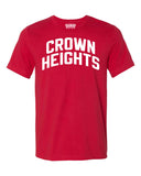 Red Crown Heights Brooklyn T-shirt with White Reflective Letters