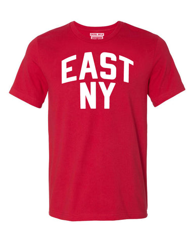 Red East New York Brooklyn T-shirt with White Reflective Letters