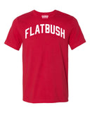 Red Flatbush Brooklyn T-shirt with White Reflective Letters