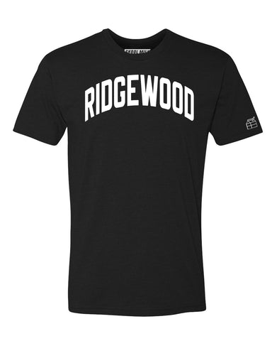 Black Ridgewood T-shirt with White Reflective Letters