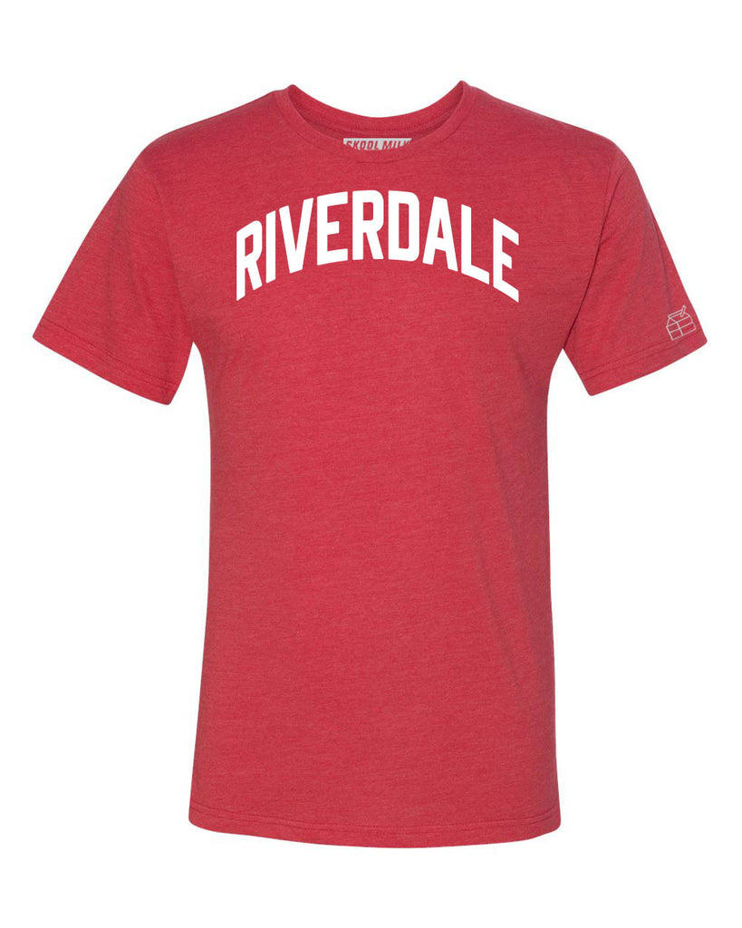 Red Riverdale T-shirt with White Reflective Letters