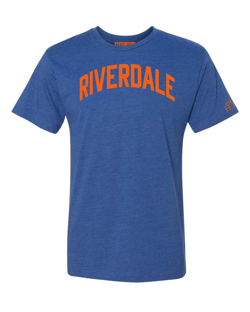 Blue Riverdale T-shirt with Knicks Orange Letters