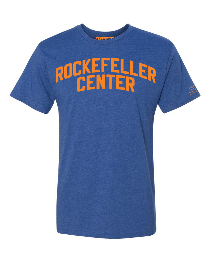Blue Rockefeller Center T-shirt with Knicks Orange Letters