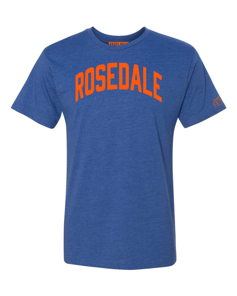 Blue Rosedale T-shirt with Knicks Orange Letters