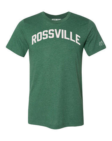 Green Rossville T-shirt with White Reflective Letters
